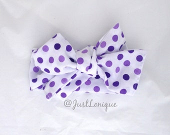 Purple Polka Dot Head Wrap