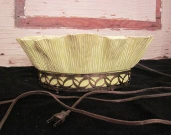 Vintage Miramar of California Green Ceramic Planter Lamp Green 1950's Works