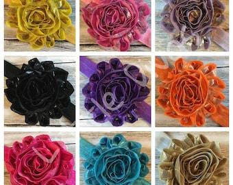 Shabby flower headband - shabby chic - headbands - shabby chic headband - rosette flower - rosette flower headband - hair flower - hair band