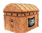 Treasure Chest Cardboard Cat House,Unique Cat Furniture, Cat Toy, Cat Bed, Cat Cave, Pet House, Cardboard Furniture,Cat Condo,Cat Gift