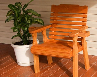 Amish Heavy Duty 600 Lb Classic Pressure Treated Patio Chair With Cupholders