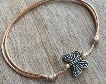 Butterfly Anklet, Gold Waxed Cord Anklet, Adjustable Anklet  WA001068