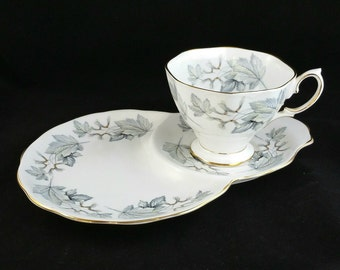 Vintage Royal Albert Bone China Tea Cup With Snack Plate, Royal Albert Silver Maple Teacup Set