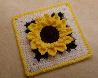 "Crochet 10"" Sunflower granny square pattern DIGITAL DOWNLOAD ONLY"