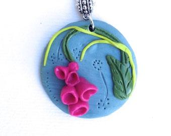 floral pendant, 3D, floral jewelry flowers