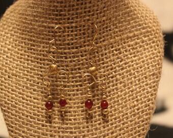 modern red beaded earrings.