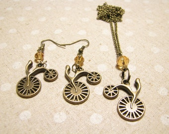 Charm jewelry Bicycle jewelry Bicycle earrings Bicycle pendant Gift women Retro jewelry Old bicycle necklace Bike Jewelry Valentines gift