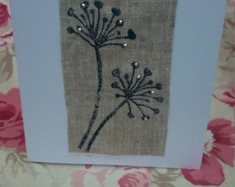 Card - Hand printed flower onto fabric with silver beads