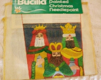 Vintage Christmas Needle Point Kit  Canvas Only Bucilla  Holiday Needle Point Kit Christmas Kit
