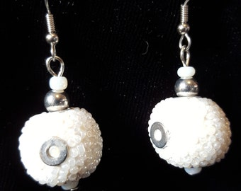 White and Silver Beaded Dangle Earrings
