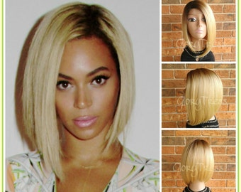 ON SALE // Beyonce Inspired Short Bob Wig, Ombre Golden Platinum Blonde Bob Wig, Straight Bob Lace Front Wig // AWESOME (Free Shipping)