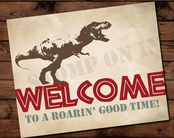 Dinosaur Birthday Welcome Sign, Dinosaur Birthday Framable Print