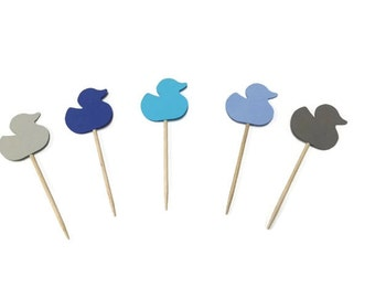 24 Rubber Ducky toothpicks, boy baby shower, birthday toothpicks, Ducky party, appetizer picks, food picks, Ducky cupcake toppers,Duck Theme
