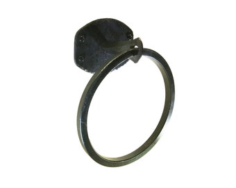 Hand Forged Square Bar Towel Ring