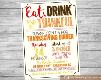 Thanksgiving Dinner Invitation / Thanksgiving Invitation / Dinner Party Invitation / Friendsgiving Invitation / Digital File