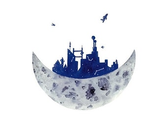 Moon City - Watercolor Art Print