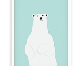 Nursery Bear Print | Baby Boy & Girl Wall Decor | Kidsroom Wall Art | Large print 50x70 cm