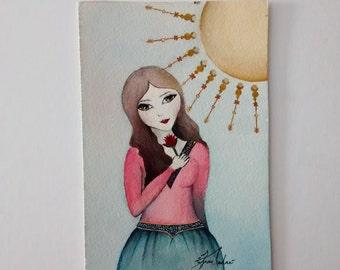 Watercolor Painting, Original Persian Art , Mothers day, Valentines, Persian Miniature, Iranian Art, Persian Watercolour Art, norooz card
