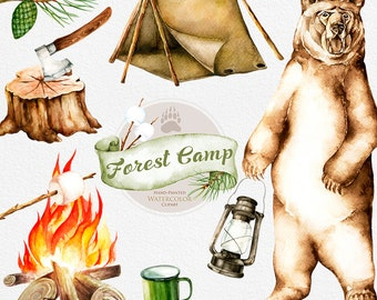 Watercolor Camping Clipart, nature forest, marshmallow, bonfire, tent, bear, pine cone, camp lamp, digital illustrations, instant download