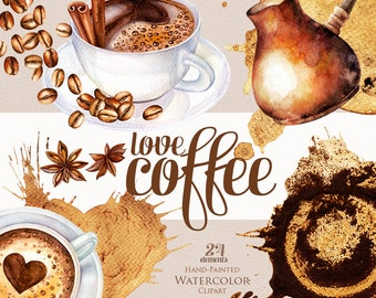 Watercolor coffee clipart, coffee beans, cup of cappuccino, stains, cinnamon, star anise, coffee decor, coffee mug, crema, DIY elements