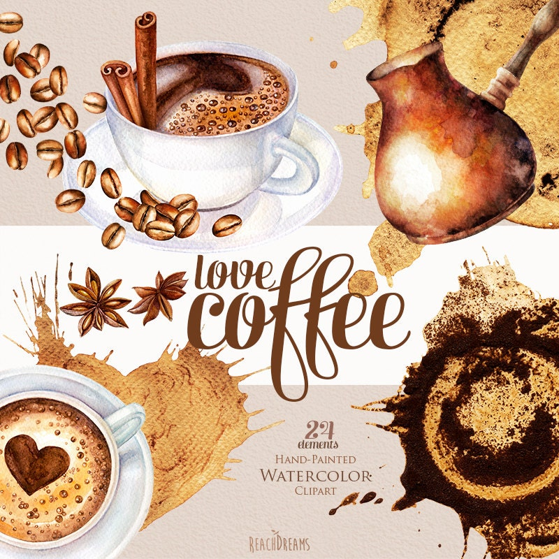 Watercolor coffee clipart coffee beans cup of cappuccino for Coffee watercolor