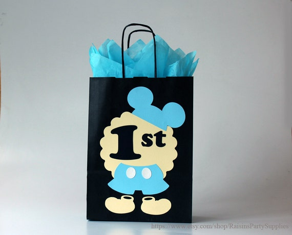 Baby mickey mouse favor bags for baby boy first birthday for Baby mickey mouse decoration