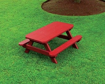 Pine Child's Picnic Table with Attached Benches - Painted OR Stained - 18 Color Options - Amish Made in the USA