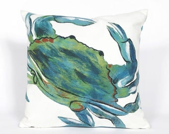 Indoor Outdoor Beach Theme Handmade Decorative Throw Pillow - Blue Sea Crab on White - FREE SHIPPING!!