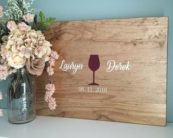 Rustic Wedding Guest Book Alternative /Wine Glass Design/ Painted Rustic Wedding Decor Wood Wedding Guest Wood Guest Book Vineyard Wedding