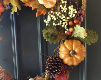 Fall Wreath, Autumn Wreath, Pumpkins and Gourds