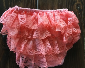 Coral Baby Bloomers, Diaper Cover, Baby Diaper Covers, Lace Bloomers