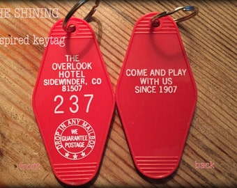 The Shining inspired OVERLOOK HOTEL Room 237 KEYCHAIN (white lettering)
