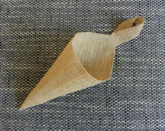 Burlap basket, Burlap cone, Burlap pew, Rustic Pew Cones, Burlap Pew Cones, Burlap Church Decor, Rustic Wedding Decor, Set of 8.