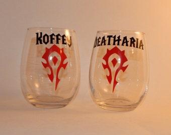 World of Warcraft Stemless 20 oz Wine Glass
