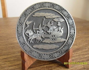King's Pewter Decorative Plate Warriors made in Thailand