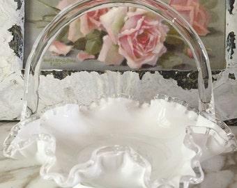 Fenton Milk Glass Basket in Silver Crest Design