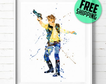 Star Wars Han Solo print, Star Wars poster, Han Solo poster, Star Wars wall art, Han Solo art, watercolor art, abstract, [92] home decor