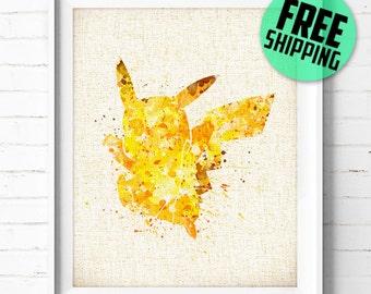 Pikachu Watercolor Art Print, Pokémon Poster, Watercolor Painting, Burlap Print, Wall Art, Kids Decor, Home Decor, Buy 2 Get 1 Free! NA52
