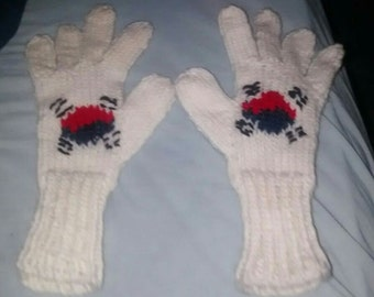 Winter gloves for women South Korea flag