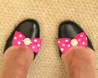 Shocking PINK shoe clips. Retro shoe makeover. Pink white polka dot bow shoe clips. Pinup shoe clips. UK Seller