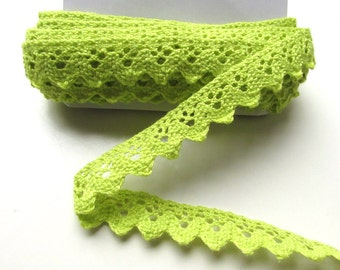 "Lime green crochet lace trim by the yard. Rick rack neon green crochet trim 1"" inch  25 cm. Cotton trim edging. UK Seller"