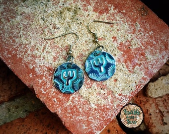 Cactus Metal stamped earrings -  Birthday Gift - Gifts for Her - Southwest - Rodeo - Country - Turquoise