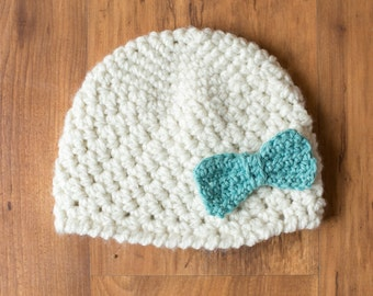 Crochet Hat With Bow, Crochet Bow, Bow Beanie,  Crochet Bow Hat, Girl Beanie With Bow, Baby Beanie, Newborn Photo Prop