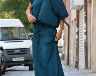 Extravagant Womens Blue Petrol Dress, Plus Size Maxi Dress, Asymmetrical Kaftan, Open Back Long Dress by SSDfashion