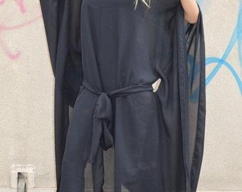 Black Maxi Plus Size Kaftan, Asymmetrical Tunic, Oversize Long Dress, Party Chiffon Dress By SSDfashion