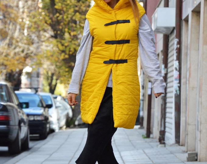 Extravagant High Collar Vest, Sleeveless Long Yellow Vest, Asymmetric Waterproof Windproof Jacket by SSDfashion