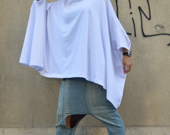 White Oversized Loose Tunic, Plus Size Casual Sweatshirt, Both Short And Long Sleeves, Cotton Maxi Dress By Ssdashion