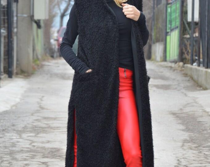 Womens Black Wool Coat, Mantle Winter Long Vest, Extravagant Womens Cloak, Pluse Size Maxi Vest By SSDfashion