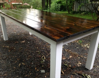 Modern Dark Walnut Farm Table - Up To 8' Length!!!