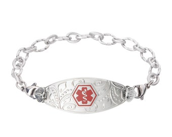 Lovely Filigree Medical Alert ID Tag Ridged Stainless Bracelet-Red -Free Engraving, Wallet Card, Apps-5620RE
